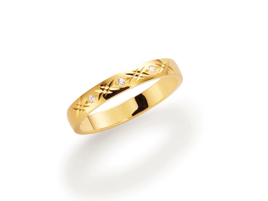 : - Vigselring 18k guld Allians 071.3