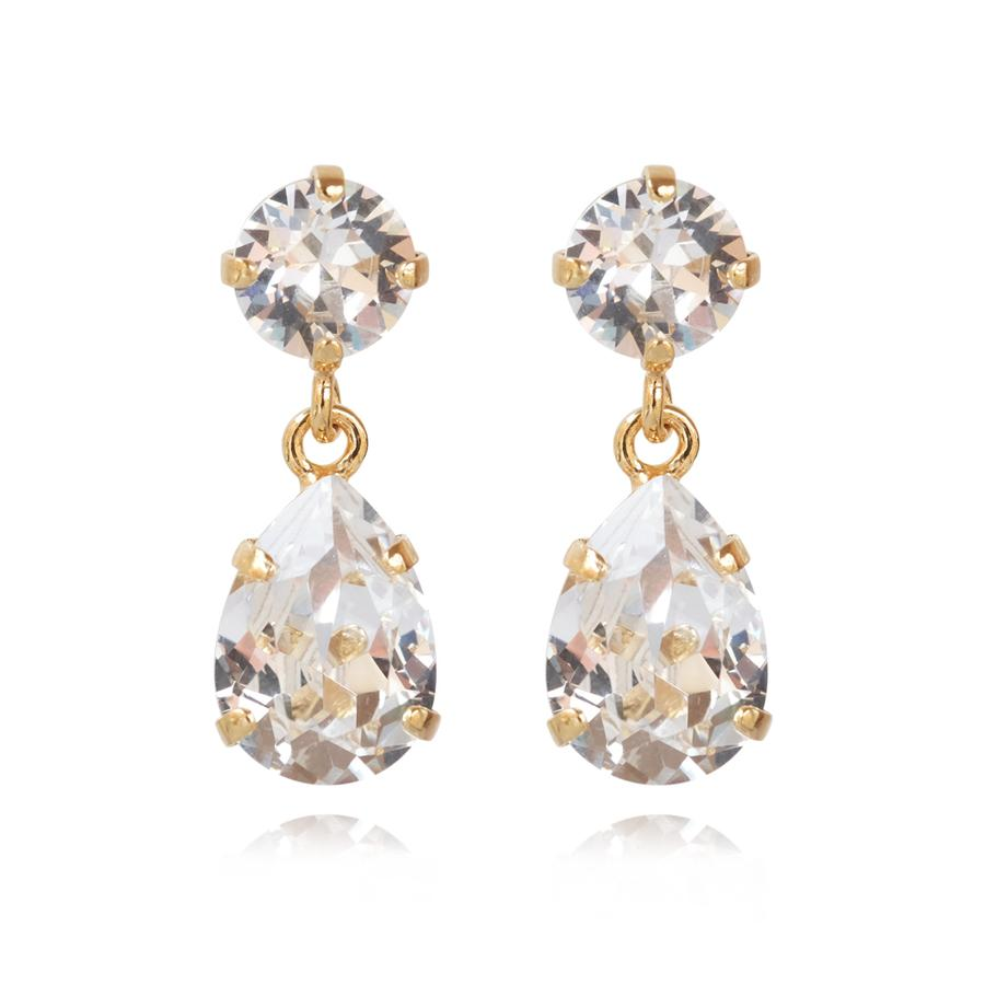 : - Mini Drop Earring Gold Crystal