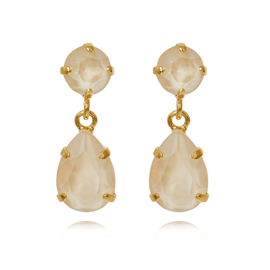 : - Mini Drop Earring Gold Ivory Cream