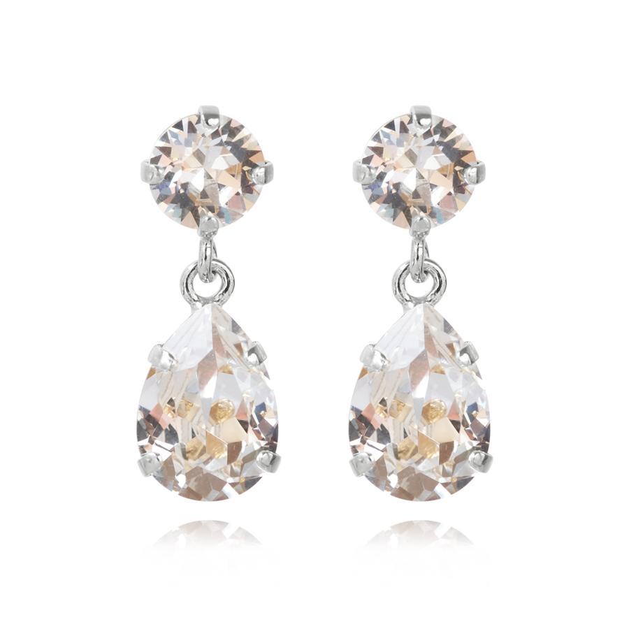 : - Mini Drop Earring Rhodium Crystal