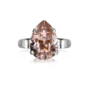 Caroline Svedbom Mini Drop Ring Rhodium Vintage Rose