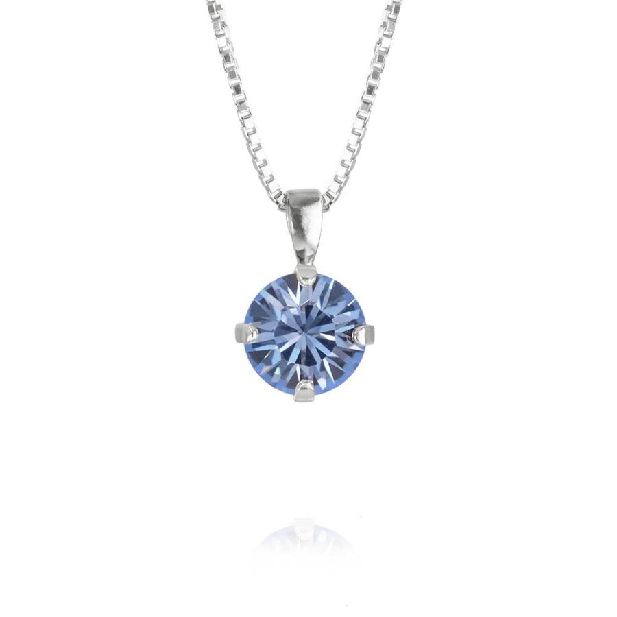 : - Classic Petite Necklace Rhodium Light Sapphire