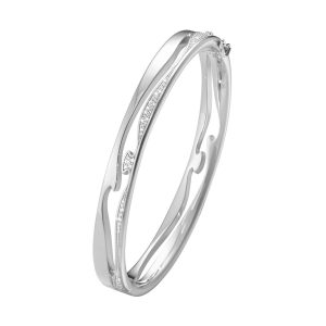 Georg Jensen Armband Fusion Öppen Armring 18K Vitguld Med Diamanter  - Jewelrybox.se
