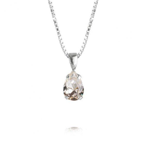 Caroline Svedbom Petite Drop Necklace Rhodium Crystal