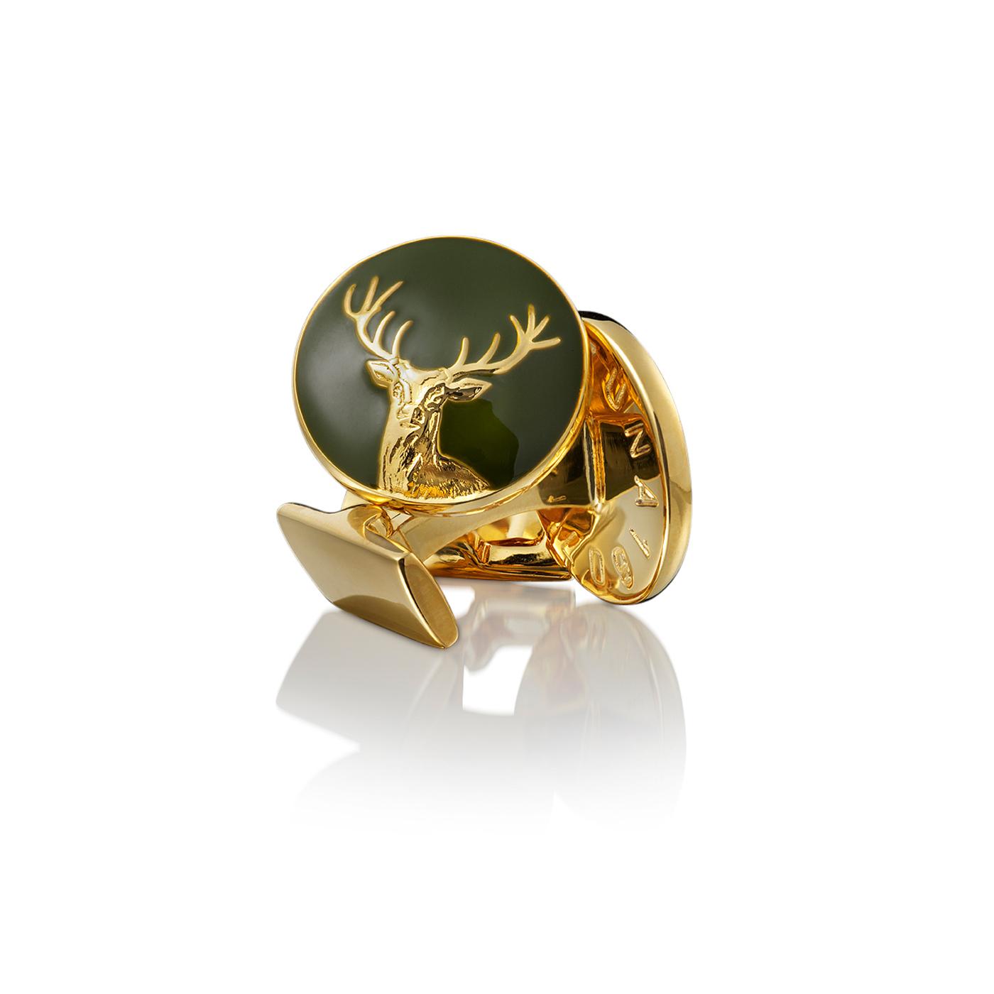 : - Manschettknappar Hunter Dear guld Grön