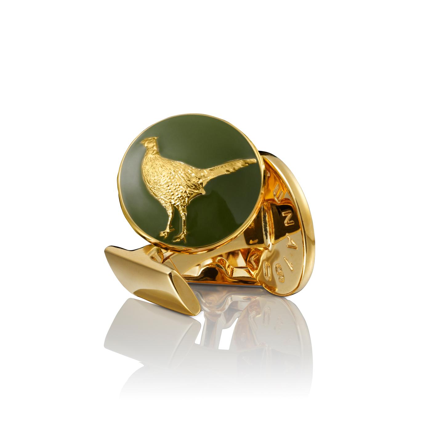 : - Manschettknappar Hunter Pheasant guld Grön