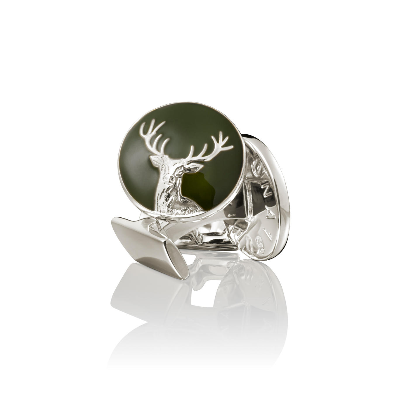 : - Manschettknappar Hunter Dear silver Grön