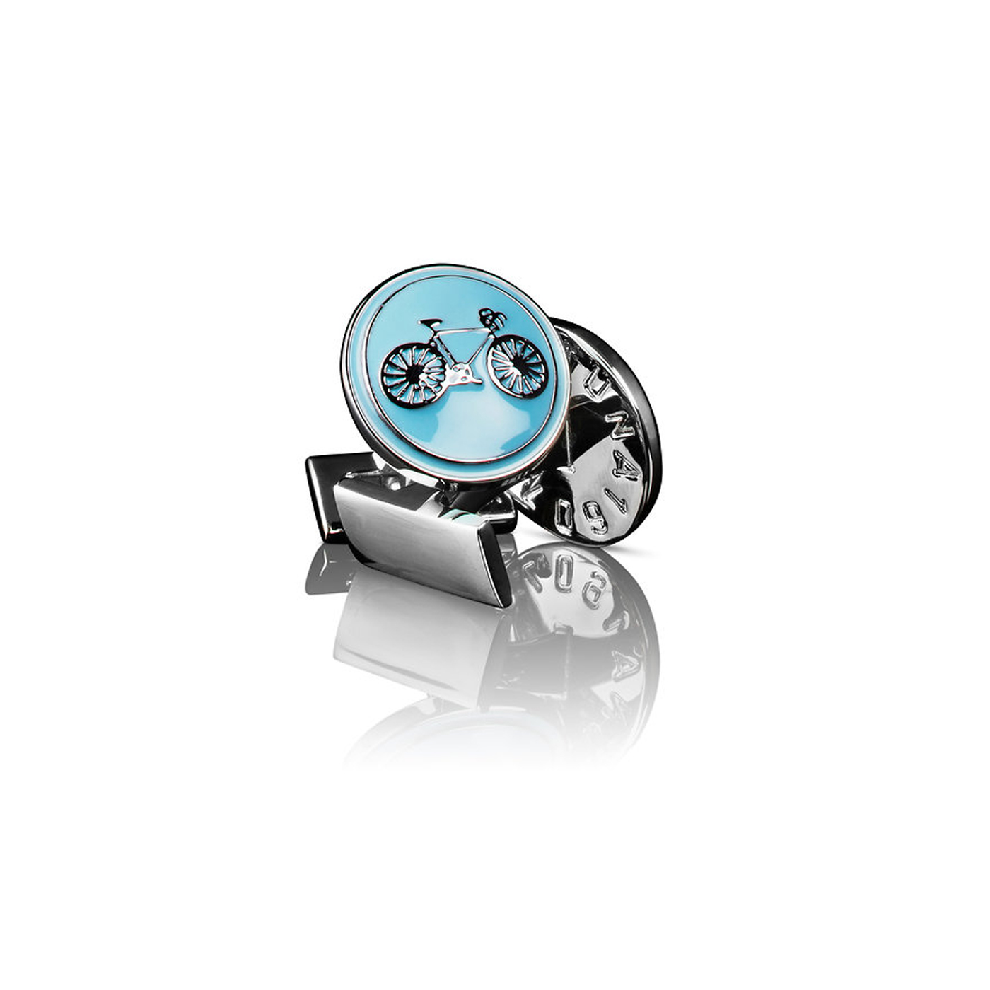 : - Manschettknappar Themocracy Silver ljusblå