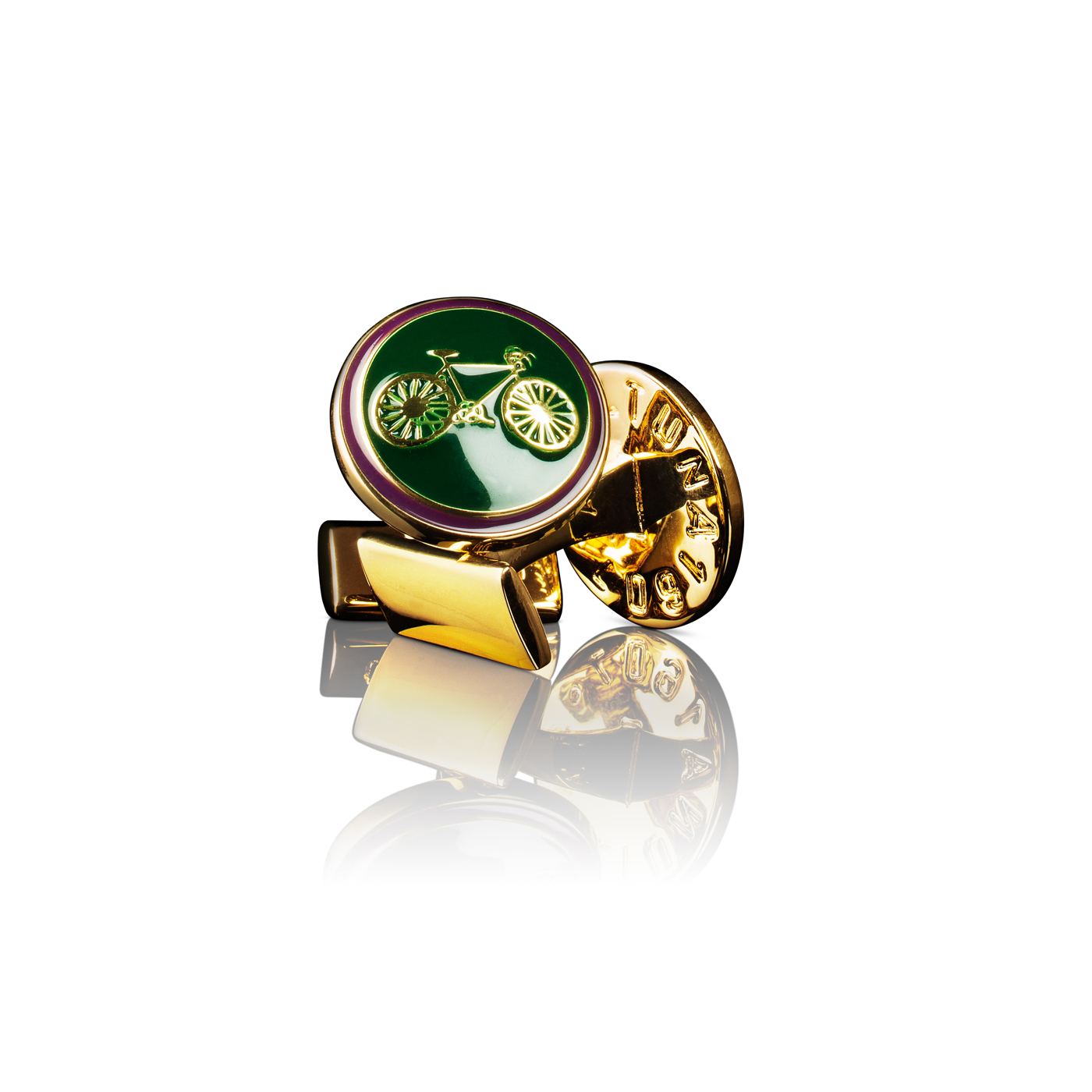 : - Manschettknappar Themocracy Guld British racing green