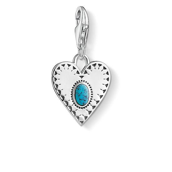: - Vintagehjärta med turkos sten Berlock