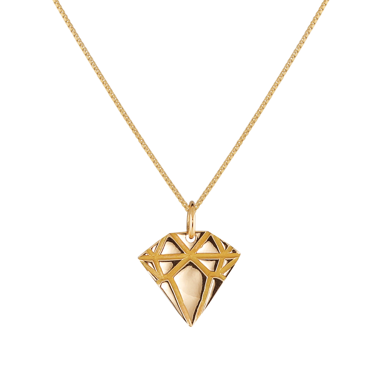 18K Gold Diamond Necklace 40 cm