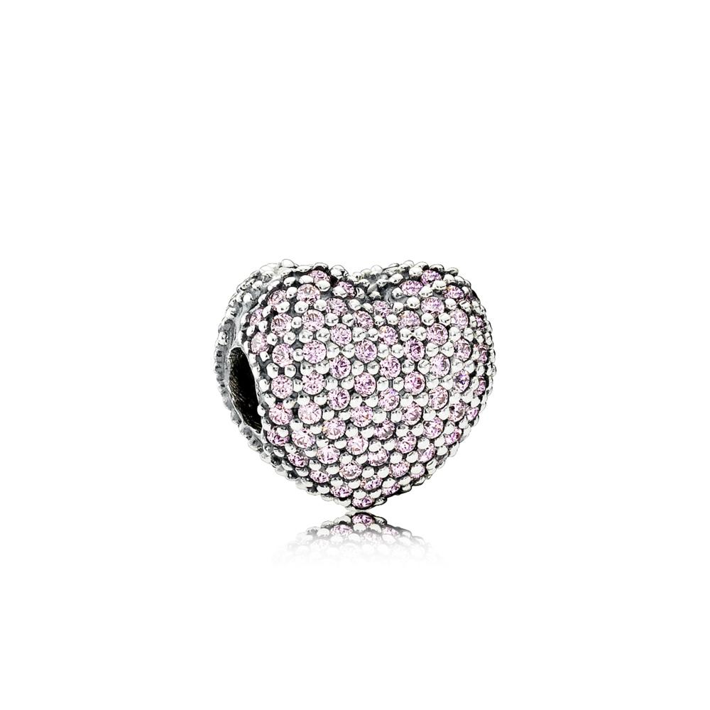 : - rosa pavé hjärtclip
