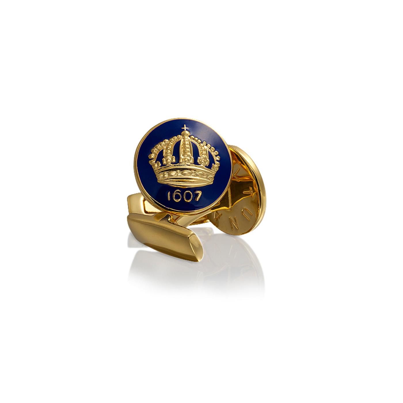 : - Manschettknappar The Crown guld Royal blue