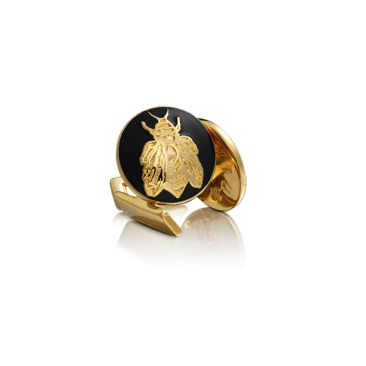 : - Manschettknappar Napoleon Bee guld Baroque svart