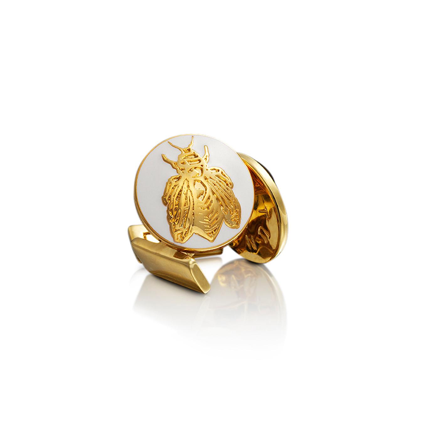 : - Manschettknappar Napoleon Bee guld Ivory White