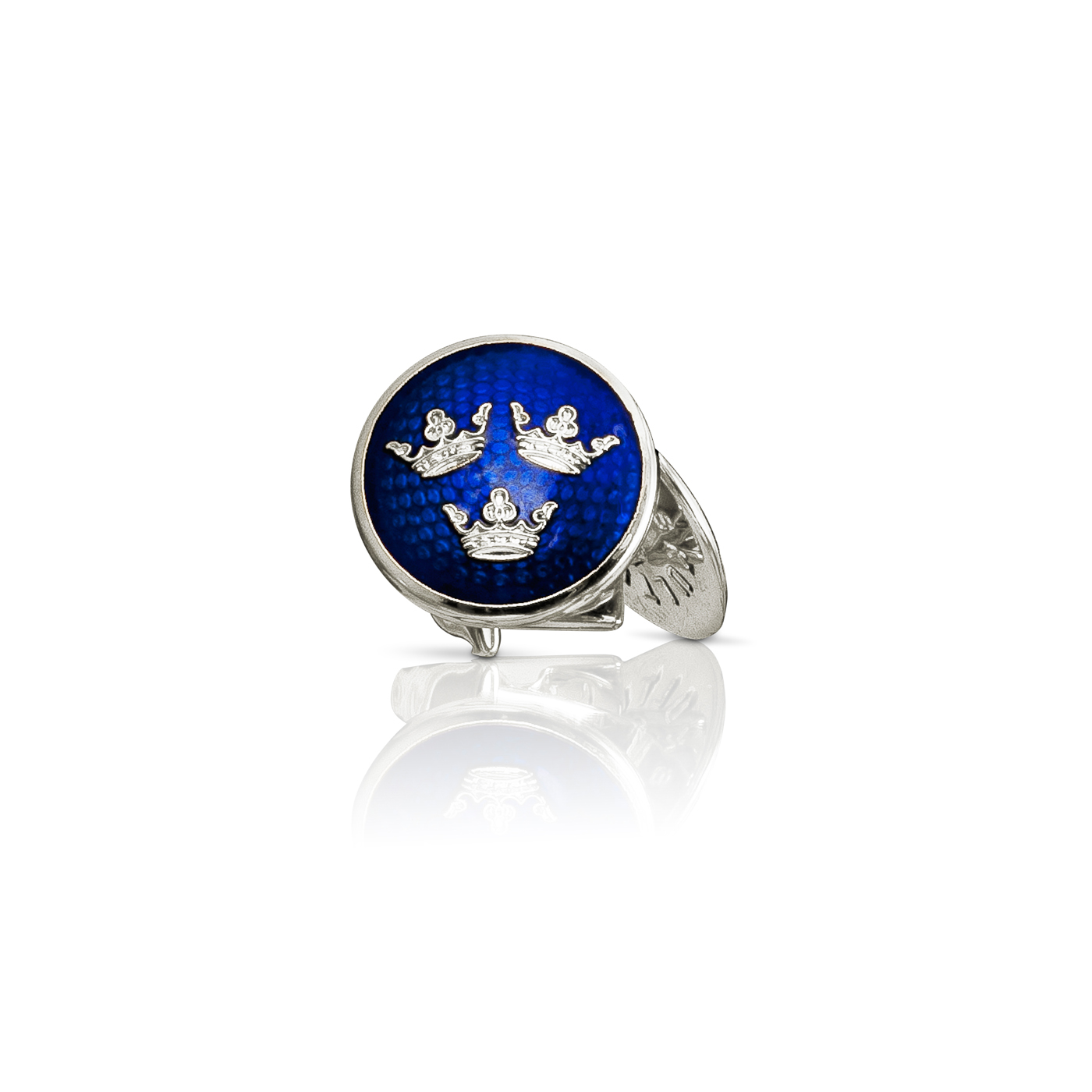 : - Manschettknappar Tre Kronor silver Royal blue