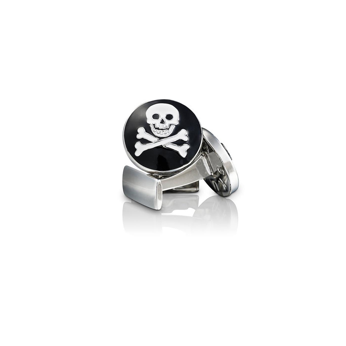: - Manschettknappar Skull & Bones svart/vit