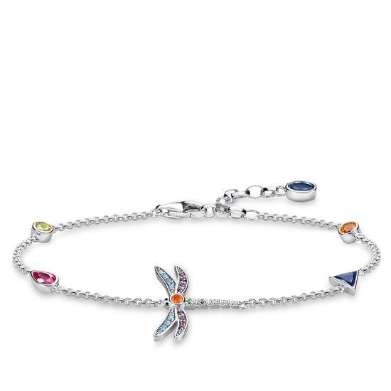 : - Färgglad Slända Armband Silver