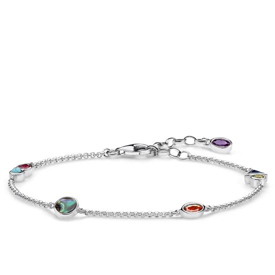 : - Armband Med Färgstenar Silver