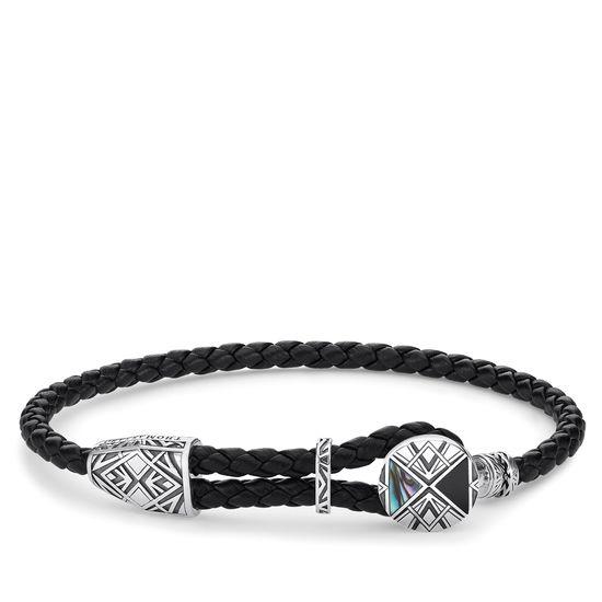 : - Läderarmband Med Onyx och Abalone-pärlemor