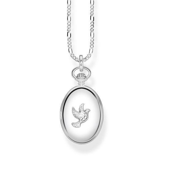 : - Halsband Medaljong Oval Silver Duva