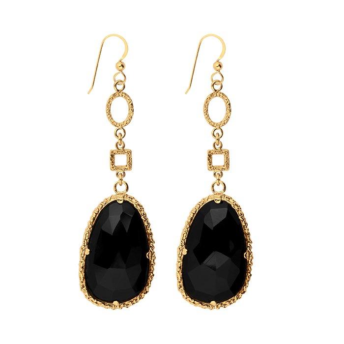 Emma Israelsson Drop Black Earrings Bronze