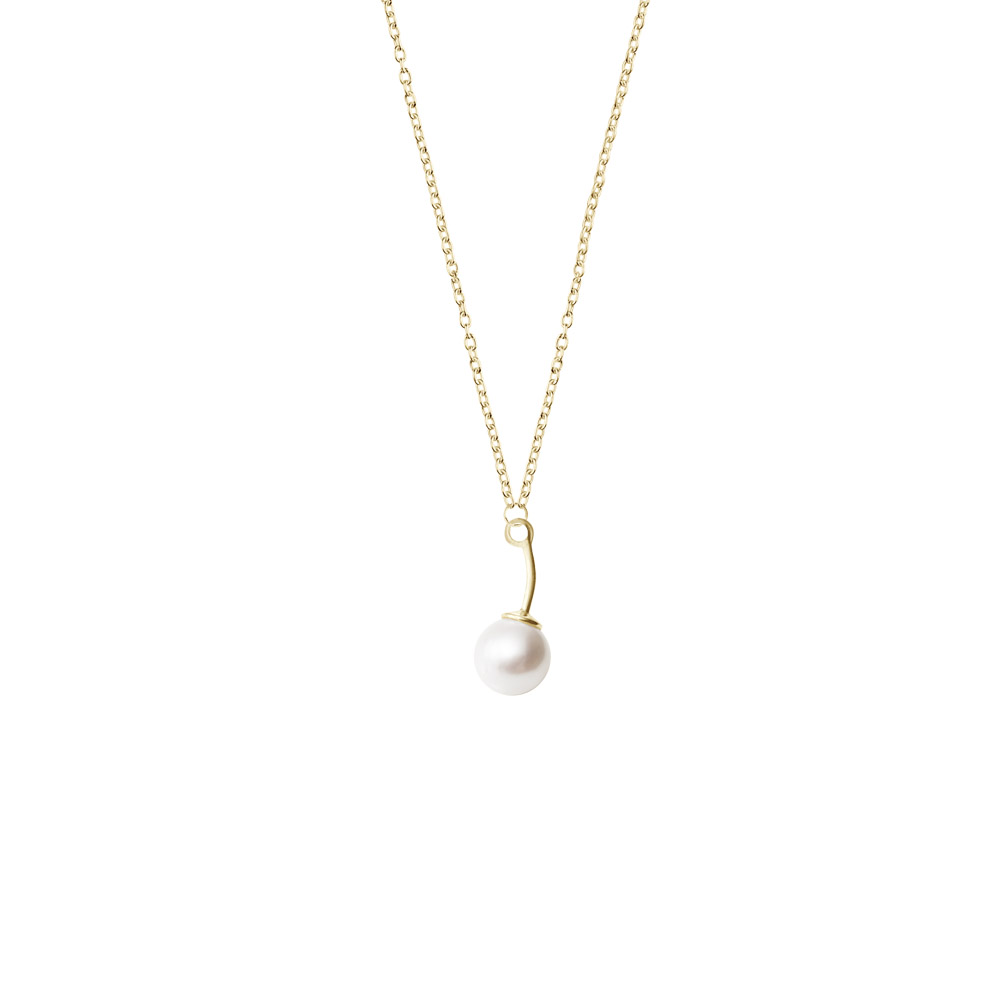 : - Le pearl single necklace gold