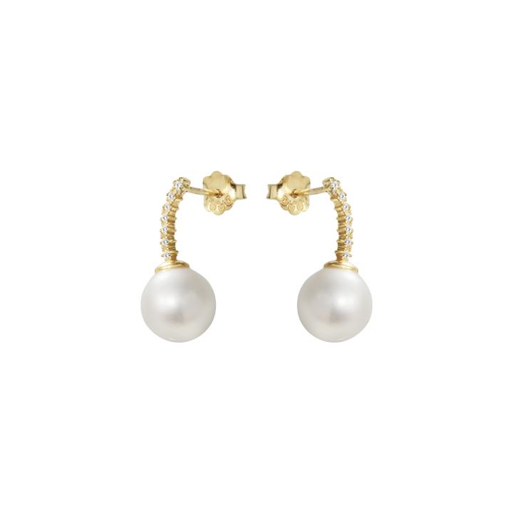 : - Le pearl studs diamonds gold