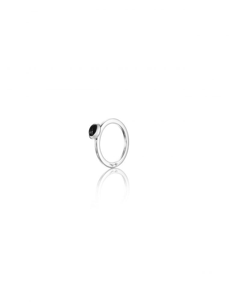 Efva Attling Love Bead Ring Silver - Onyx