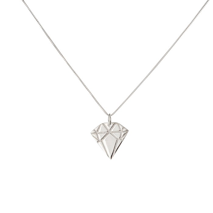 : - Silver Diamond Necklace Small