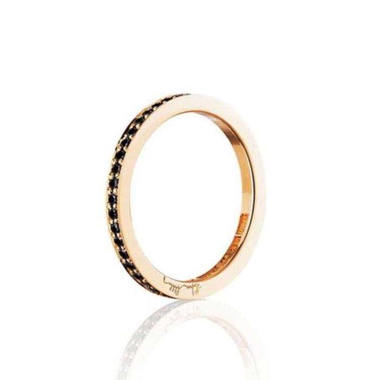 : - Stars & Signature In Black Thin Ring Guld