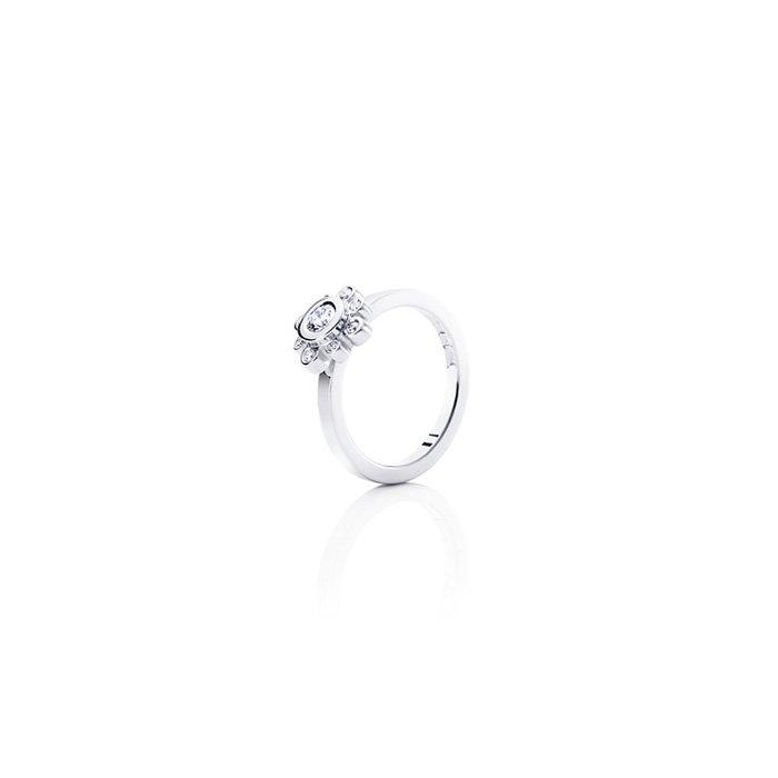 : - Sweet Hearts Crown Ring Vitguld 0,19 ct