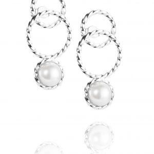 Efva Attling Twisted Orbit Earrings - Pearl