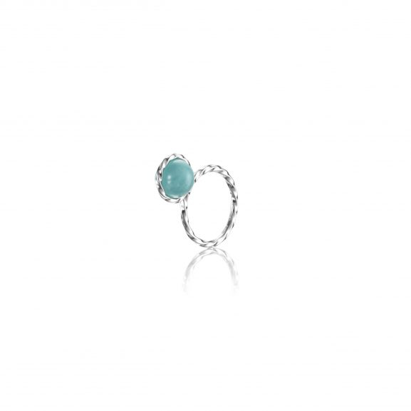 Efva Attling Twisted Orbit Ring - Amazonite
