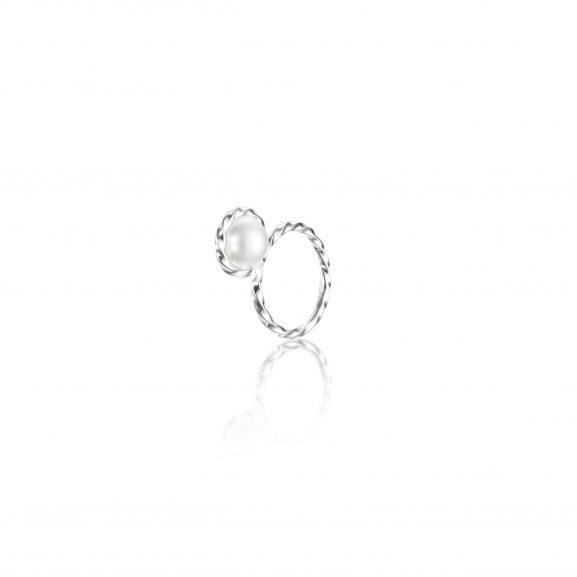 Efva Attling Twisted Orbit Ring - Pearl