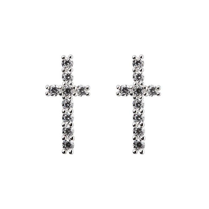Emma Israelsson White Cross Earrings