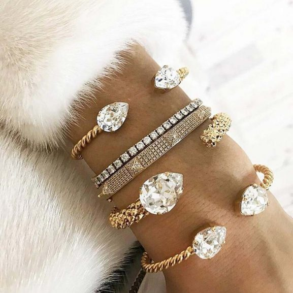 Caroline Svedbom Mini Drop Bracelet Rhodium Light Sapphire