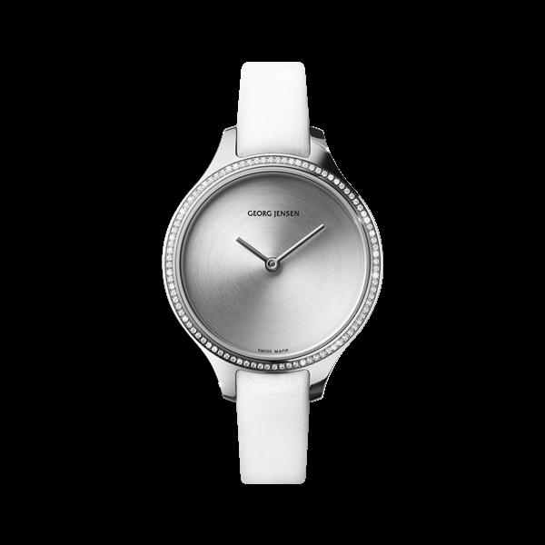 : - Klocka Concave 30 mm Diamantinfattad Sunray-urtavla med vitt läderarmband