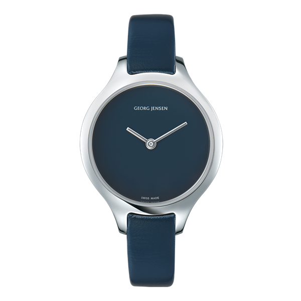 Georg Jensen Klocka Concave 30 mm quartzverk – blå urtavla och läderarmband