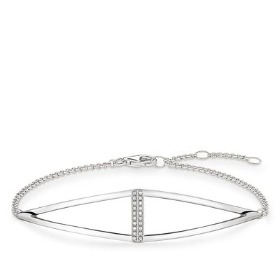 Trianglar diamantarmband silver