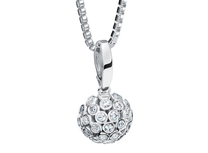 : - Hängsmycke 18k vitguld Snödroppe mg010 0,28 ct diamant
