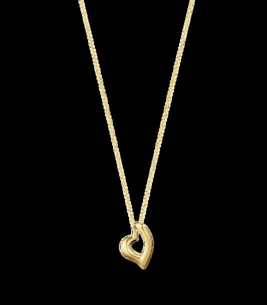: - Kurvigt Hjärta Halsband Guld