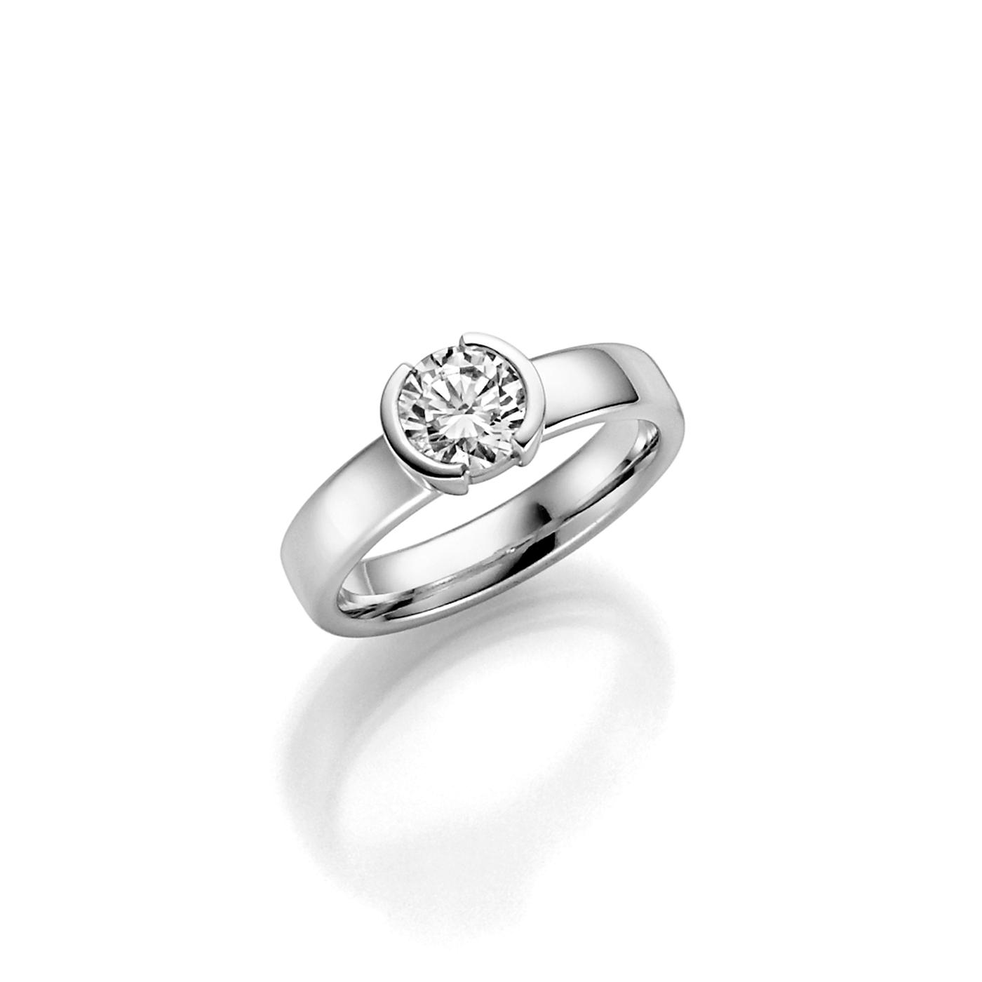 Vigselring 18k vitguld Rhen 1,0 ct diamant
