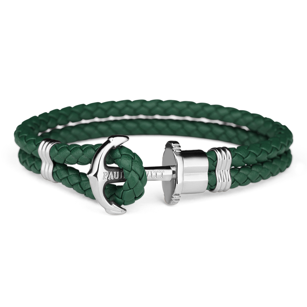 Paul Hewitt Leather Phrep Armband Grön/Silver