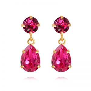 Caroline Svedbom Mini Drop Earrings Gold Fuchsia