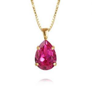 Caroline Svedbom Mini Drop Necklace Gold Fuchsia