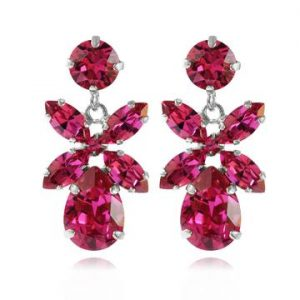 Caroline Svedbom Mini Dione Earrings Rhodium Fuchsia