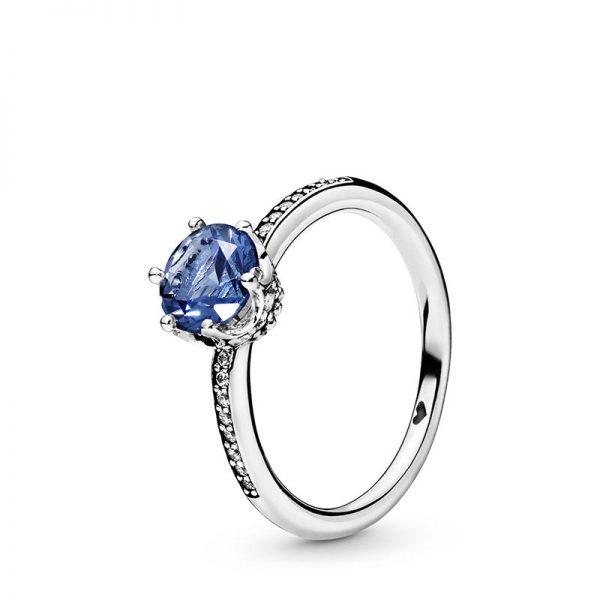 PANDORA Blue Sparkling Crown Ring