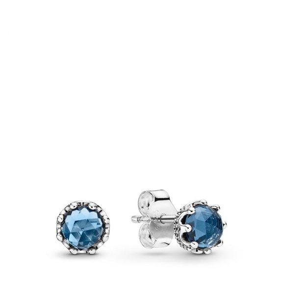 PANDORA Blue Sparkling Crown Stiftörhängen