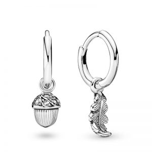 PANDORA Acorn and leaf sterling silver hoop earrings with clear cubic zirconia